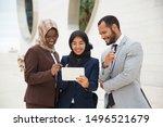 happy diverse coworkers looking ...   Shutterstock . vector #1496521679