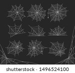 vector set of outline spider... | Shutterstock .eps vector #1496524100
