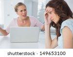 unhappy woman in her kitchen... | Shutterstock . vector #149653100