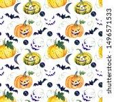 watercolor seamless pattern... | Shutterstock . vector #1496571533