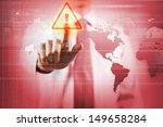 Small photo of Image of businessman touching virus alert icon