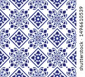 cute blue and white pattern ... | Shutterstock .eps vector #1496610539
