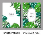 vector palm beach tree leaves... | Shutterstock .eps vector #1496635733