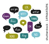 colorful speech bubbles. chat... | Shutterstock .eps vector #1496645696