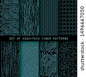set of seamless cyber patterns. ... | Shutterstock .eps vector #1496667050
