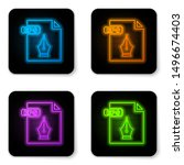 glowing neon eps file document. ... | Shutterstock .eps vector #1496674403