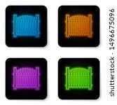 glowing neon garden fence...   Shutterstock .eps vector #1496675096