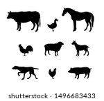 Stock vector vector black set bundle of domestic animals silhouette isolated on white background 1496683433