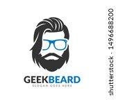 beard geek logo design template ...   Shutterstock .eps vector #1496688200
