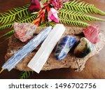 variety of healing crystals on... | Shutterstock . vector #1496702756