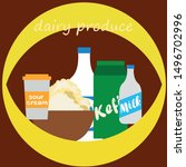milk  sour  kefir  cottage ... | Shutterstock .eps vector #1496702996