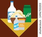 milk  sour  kefir  cottage ... | Shutterstock .eps vector #1496703203