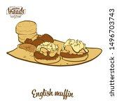 colored drawing of english... | Shutterstock .eps vector #1496703743