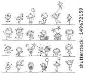 hand drawing cartoon happy kids ... | Shutterstock .eps vector #149672159