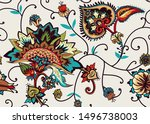 seamless floral pattern in... | Shutterstock .eps vector #1496738003