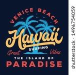 hawaii beach typography slogan... | Shutterstock .eps vector #1496754059