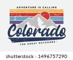 colorado typography slogan with sun and mountain illustration for fashion print and other uses