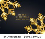 gold snowflakes banner. merry... | Shutterstock .eps vector #1496759429