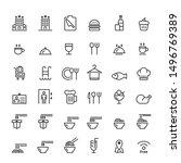 food icon line set vector ...