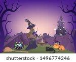 halloween night  witch magic ... | Shutterstock .eps vector #1496774246
