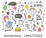 set of colorful hand drawn... | Shutterstock .eps vector #1496775323