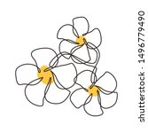 one line drawing of plumeria... | Shutterstock .eps vector #1496779490