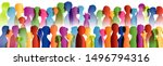 talking crowd. dialogue group... | Shutterstock . vector #1496794316