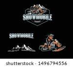 Set Snowmobile Sport Logo Team
