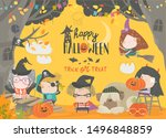 funny children wearing in... | Shutterstock .eps vector #1496848859