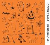 halloween vector set of doodles ... | Shutterstock .eps vector #1496850320