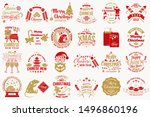 set of merry christmas and...   Shutterstock .eps vector #1496860196