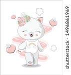 the beautiful girl honey cat ... | Shutterstock .eps vector #1496861969