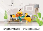 happy young man playing guitar... | Shutterstock .eps vector #1496880860