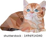 Stock vector low poly red kitten on the white background pet crystal design triangular kitten 1496914340
