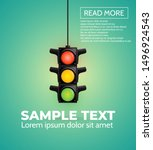 card with traffic light  vector. | Shutterstock .eps vector #1496924543