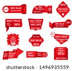 set of red paper sale stickers. ... | Shutterstock .eps vector #1496935559