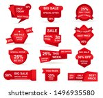 set of red paper sale stickers. ...   Shutterstock .eps vector #1496935580