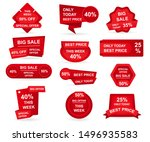 set of red paper sale stickers. ... | Shutterstock .eps vector #1496935583