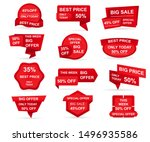 set of red paper sale stickers. ... | Shutterstock .eps vector #1496935586