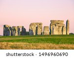 Stonehenge  Warm Pink Sky ...