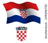 croatia wavy flag and coat of... | Shutterstock .eps vector #149696750