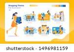 set of group shopping theme... | Shutterstock .eps vector #1496981159