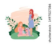cute pregnancy mothers seated... | Shutterstock .eps vector #1497027386