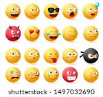 emoji faces vector set.... | Shutterstock .eps vector #1497032690