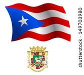 puerto rico wavy flag and coat... | Shutterstock .eps vector #149703980