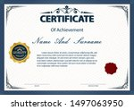 certificate or diploma vintage... | Shutterstock .eps vector #1497063950