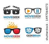 set of movie geek logo template ...   Shutterstock .eps vector #1497064073
