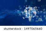 global communication network... | Shutterstock . vector #1497065660
