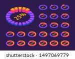 isometric set of neon circular...
