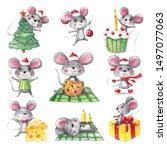 Set Christmas Watercolor Mouse...